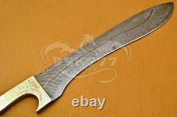 1 Of A Kind Hand Made Damascus Steel Hunting Kopis Sword Handle Brass Engraving