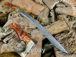 1 Of A Kind Hand Made Damascus Steel Hunting Kopis Sword Handle Rosewood & Brass