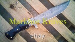 12 Damascus Steel Black Horn With Brass Handle Custom Handmade Hunting Knife