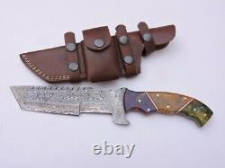 12Custom Art hunting knife forged Damascus D2 Steel with Tinted Art Bone Handle