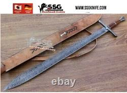 30 Handmade CUSTOM DAMASCUS Forged War Hunting Sword KNIFE BURL WOOD HANDLE