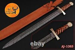 31 Hand Forged Damascus Steel Sword With Wood & Brass Guard Handle Aj 1085