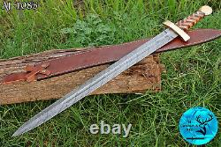 31 Hand Made Damascus Steel Sword With Wood & Brass Guard Handle Aj 1085
