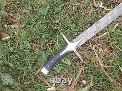 35CUSTOM MADE DAMASCUS STEEL VIKING SWORD Arabic Sword Black Micarta Handle