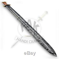 38 Custom Handmade Damascus Steel Viking Sword Copper Wire Warp Handle