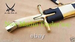 38 Damascus Bone & Brass Cross Guard Handle Tatar Sword With Wooden Scabbard