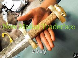 38 Damascus Brass & Double Shade Wire Wrap Handle Viking Sword