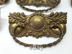 8 Antique Brass Dresser Pulls Desk Drawer Handles Vintage Victorian Furniture