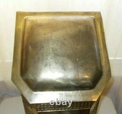 ANTIQUE ORNATE BRASS COAL WOOD HOD SCUTTLE BOX With INSERT LION HEAD HANDLES (118)