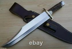 Ak Cutlery Fancy Handmade Steel D-2 Colt Stag Bowie Knife Handle Brass Clip