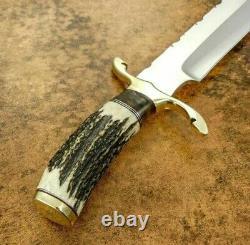 Ak Fancy Handmade Steel D-2 Bowie Knife Handle Brass Clip, Wood, Stag