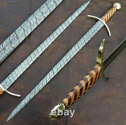 Ak Knives Fancy Handmade Damascus Steel Sword Handle Made By Brass Clip And Wood