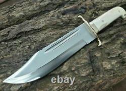 Ak Knives Fancy Handmade Steel D-2 Bowie Knife Handle Brass Clip And Bone