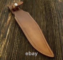 Ak Knives Fancy Handmade Steel D-2 Bowie Knife Handle Brass Clip And Steel