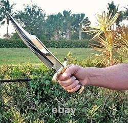 Ak Knives Fancy Handmade Steel D-2 Bowie Knife Handle Brass Clip And Wood