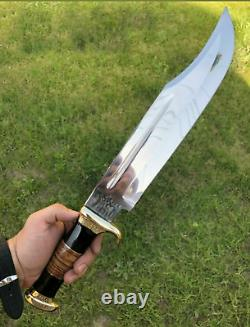 Ak Knives Fancy Handmade Steel D-2 Bowie Knife Handle Brass Clip, Leather