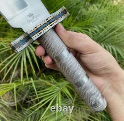 Ak Knives Fancy Handmade Steel D-2 Rambo Knife Handle Steel Rod, Brass, Steel Clip