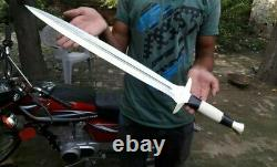 Ak Knives Fancy Handmade Steel Tool D-2 Sword Handle Brass Clip, Bone And Sheet