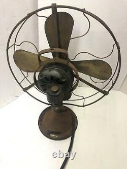 Antique 16 Brass Blade GE Loop Handle Oscillating Fan 75425 Works Parts/Restore