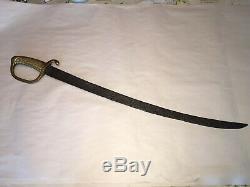 Antique 19th Brass Hilt Handle Sword Curved Blade Artillery Saber