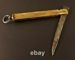Antique Barrel Knife Wood Handle Brass & Steel Insert Joh. Enostrom Sweden