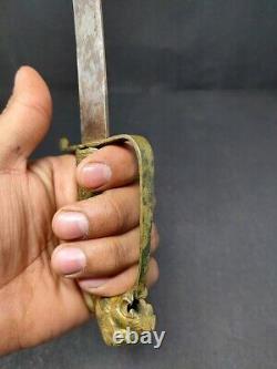 Antique Brass Lion Carved Handle Hunting Dagger Knife Knives Kattar Steel Blade