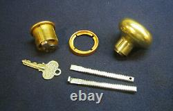 Antique Entry Mortise Lock Brass Pull Handle thumb Latch Cylinder Refurbished