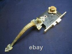 Antique Entry Mortise Lock Brass Pull Handle with thumb Latch Cylinder Corbin 1349