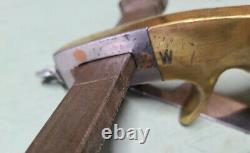 Antique PISTOL GRIP Leather STRAP CUTTER-Brass, Walnut, Steel- Unknown Maker