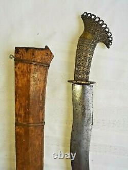 Antique Silat Asian Sword with Brass/Bronze Wire Grip & Wooden Scabbard 26.5
