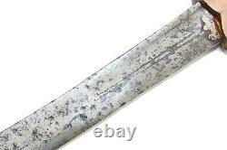 Antique Sword Handmade Old Damascus Sakela Steel Blade Copper Elephant Handle