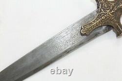 Antique old brass engraved handle dagger knife damascus steel blade P 557