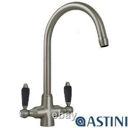 Astini Colonial Brushed Steel & Black Ceramic Handle Kitchen Sink Mixer Tap