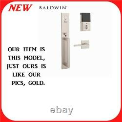 Baldwin Evolved Minneapolis Left Handed Full Plate Handleset withBluetooth in Gold