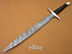 Beautiful Custom Damascus Hunting The Hobbit Sword with brass handle