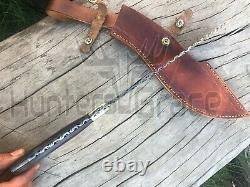 Beautiful Custom Handmade Damascus Steel Hunting Kukri Knife Dollar Sheet Handle