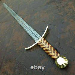 Beautiful Custom Handmade Damascus Steel Sword Handle Rose&olive Wood, Brass