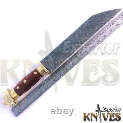 Blacksmith New Custom Made Damascus Steel Hunting Survival Knife, Wooden Handle
