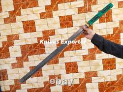 Blacksmith New Custom Made Damascus Steel Katana Ninja Tanto Sword, Wood Handle