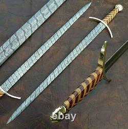 Blacksmith New Custom Made Damascus Steel Viking Medieval Sword, Wooden Handle