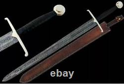 Blacksmith New Custom made Damascus Steel Viking Medieval Sword Rose Wood Handle