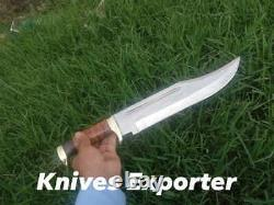 Blacksmith New Custom made Spring Steel Hunting Survival Knife, Leather Handle