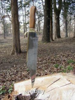 Bowie Custom Handmade D2 Steel Bowie Knife & Sheath Wood & Brass Handle