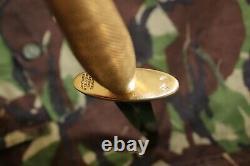 British Army Fairbairn Sykes Commando knife, 2nd pat. Brass handle, black blade