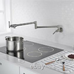 Brushed Pot Filler Faucet Wall Mount, Stainless Steel Kitchen Pot Filler Faucet