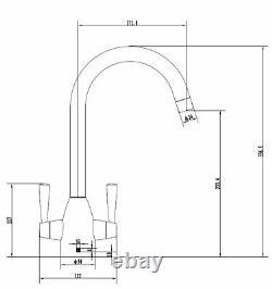 Brushed Steel & Copper Kitchen Tap Inc. Water Filter Kit. Swan Neck 2 Handles