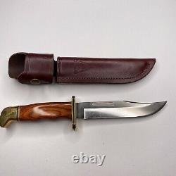 Buck 119 V Knife Wood Brass Handle Fixed Blade & Sheath