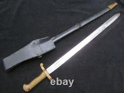 CIVIL War Style Sword Brass Handle Bayonet With Scabbard And Frog