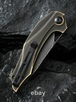 Civivi Linerlock Folding Knife 3.45 Damascus Steel Blade Rubber/Brass Handle