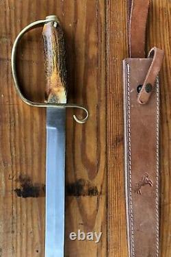 Colt Knives D-Guard Short Guardian Sword Saber CT832 Pakistan Brass Stag Handle